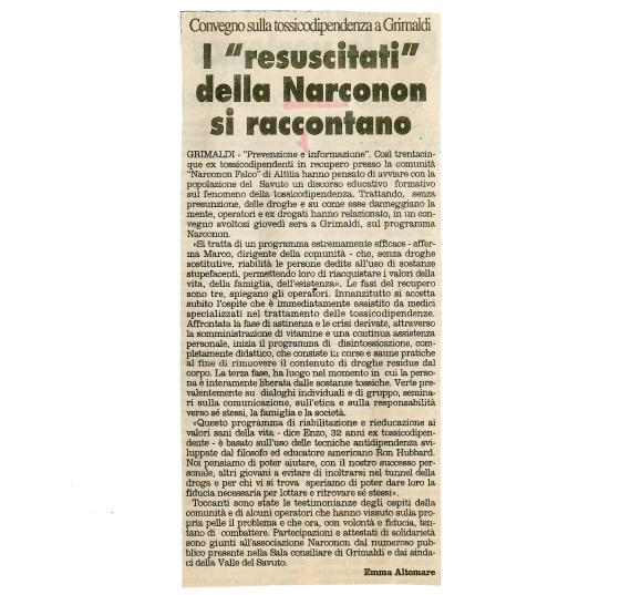 """Narconon Falco """"Il Quotidiano di Calabria"""""""